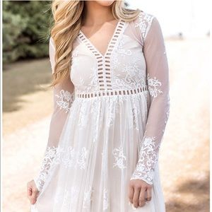 Dresses & Skirts - White lace detail maxi dress